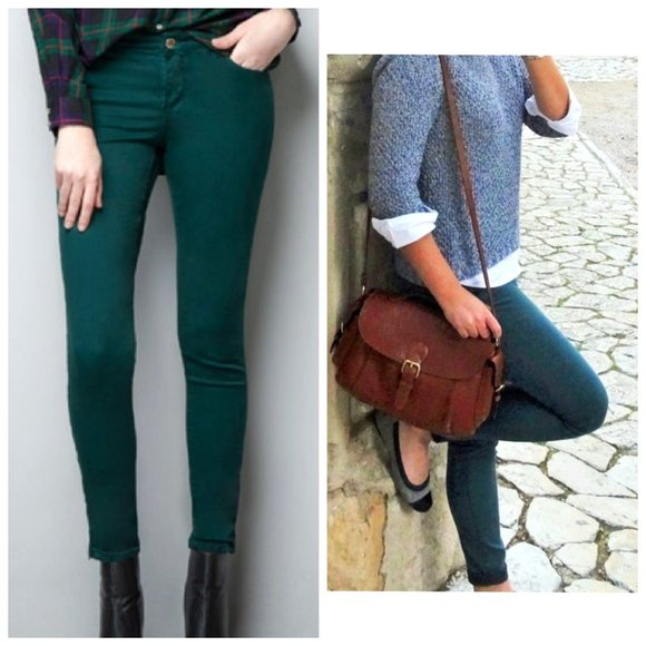 ZARA Emerald Green Skinny Jeans